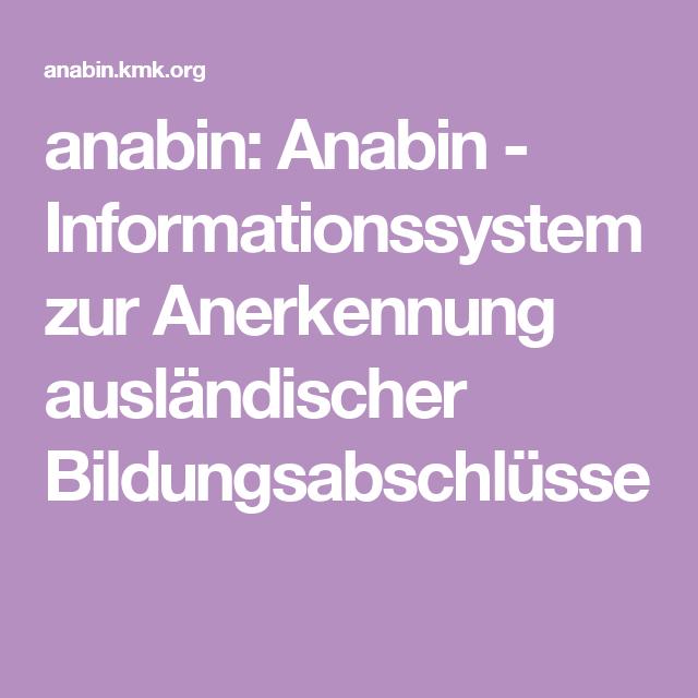 anabin: Anabin - Informationssystem zur Anerkennung