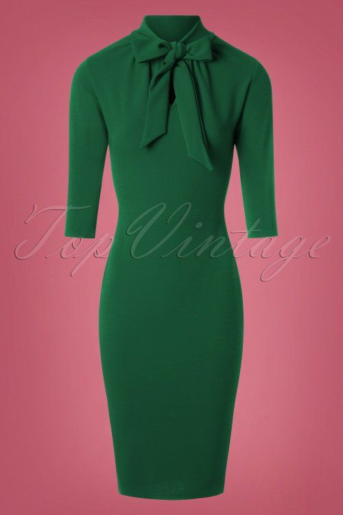 50s Lindsay Tie Neck Pencil Dress in Emerald Green in 2018 | A ...