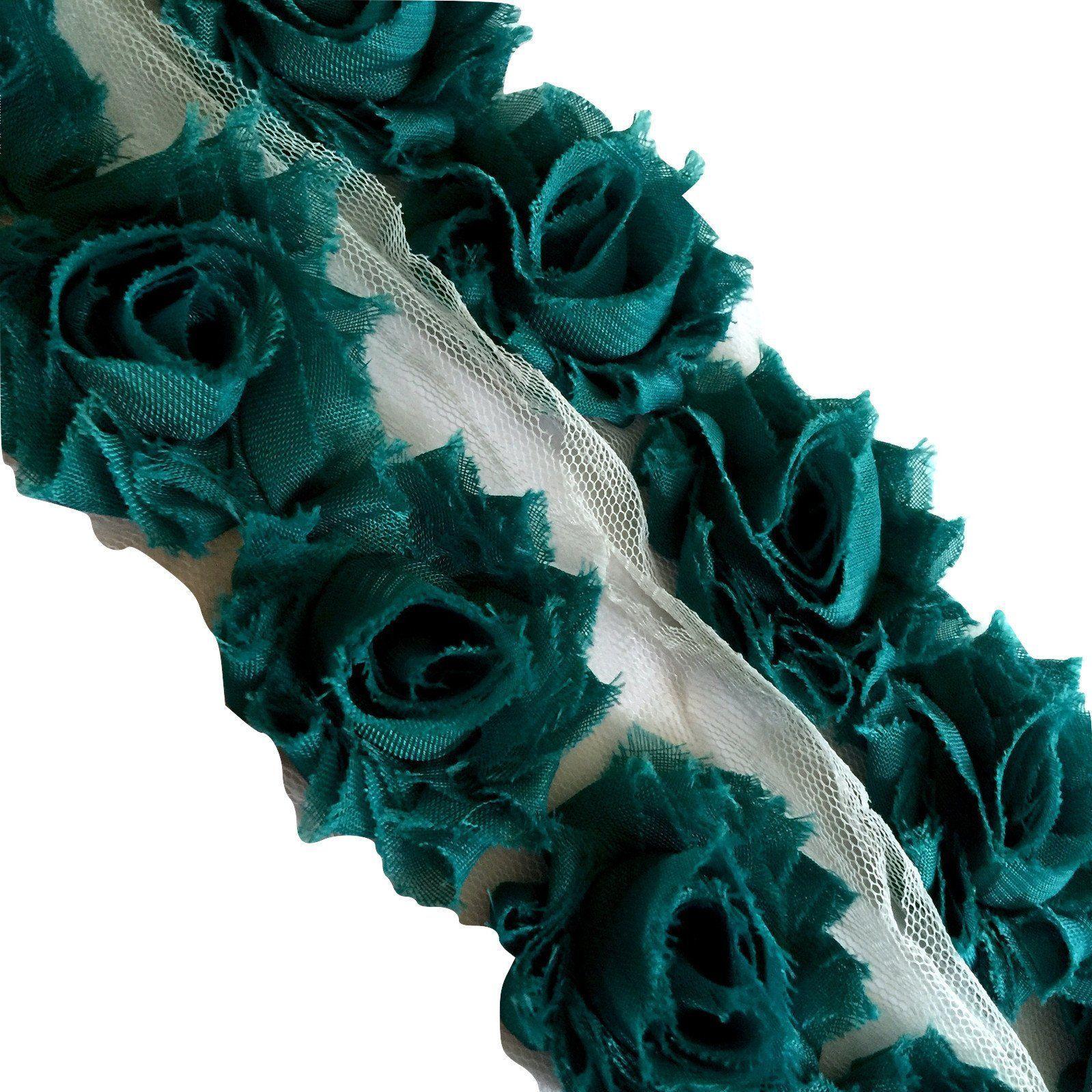 "Teal green petite 1.5"" shabby chiffon rose trim"