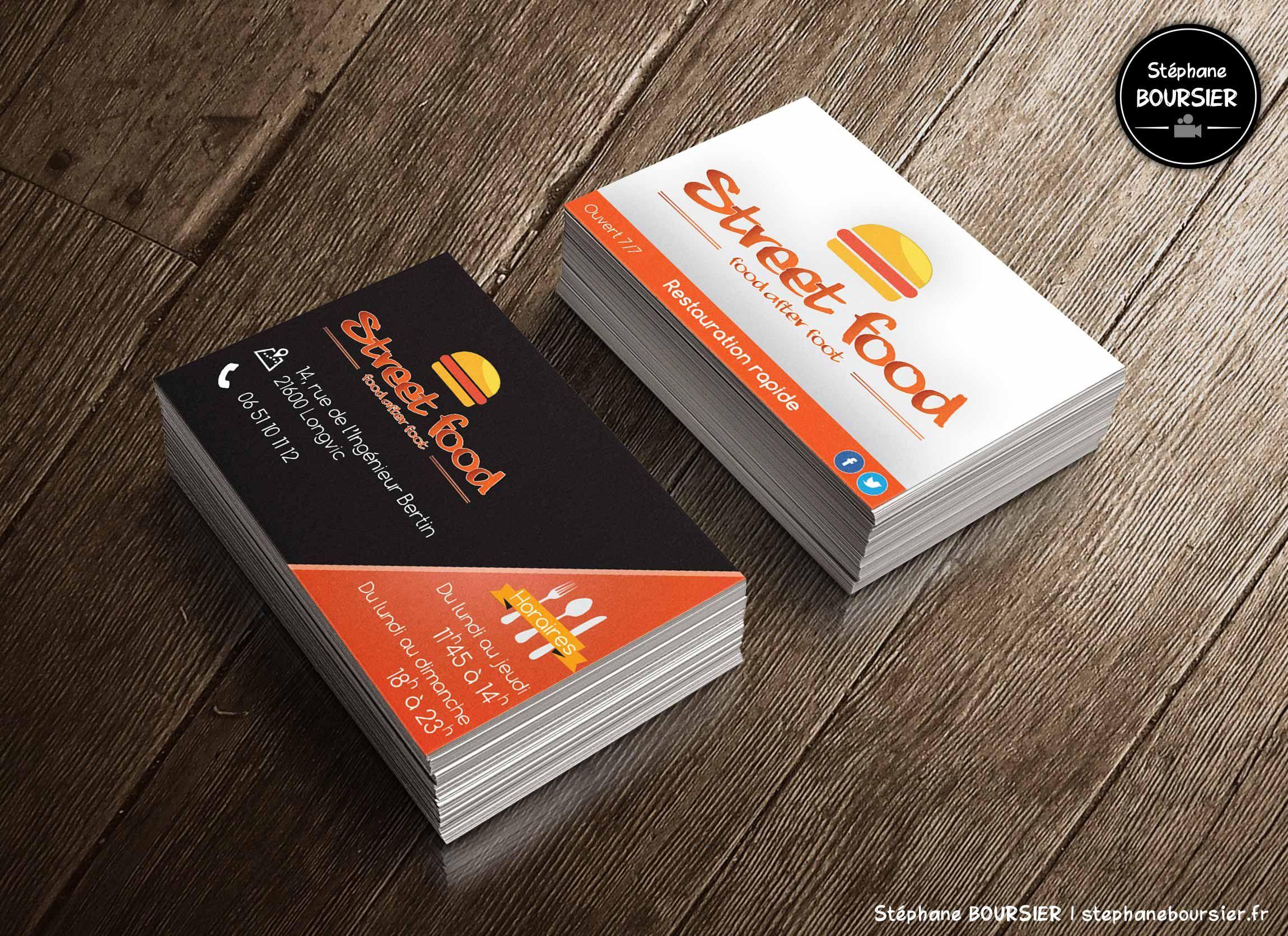 Cartes de visite pour le fast-food Street Food