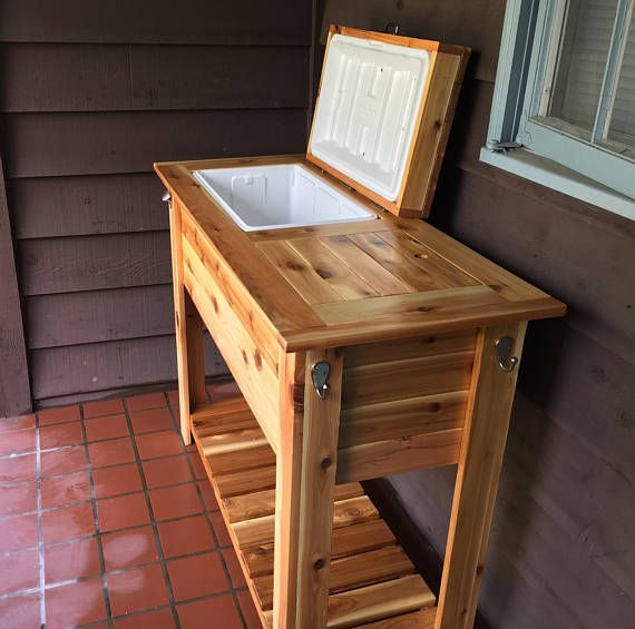 Wood Ice Chest Grill Cart Combo Cooler Stand Ideas In