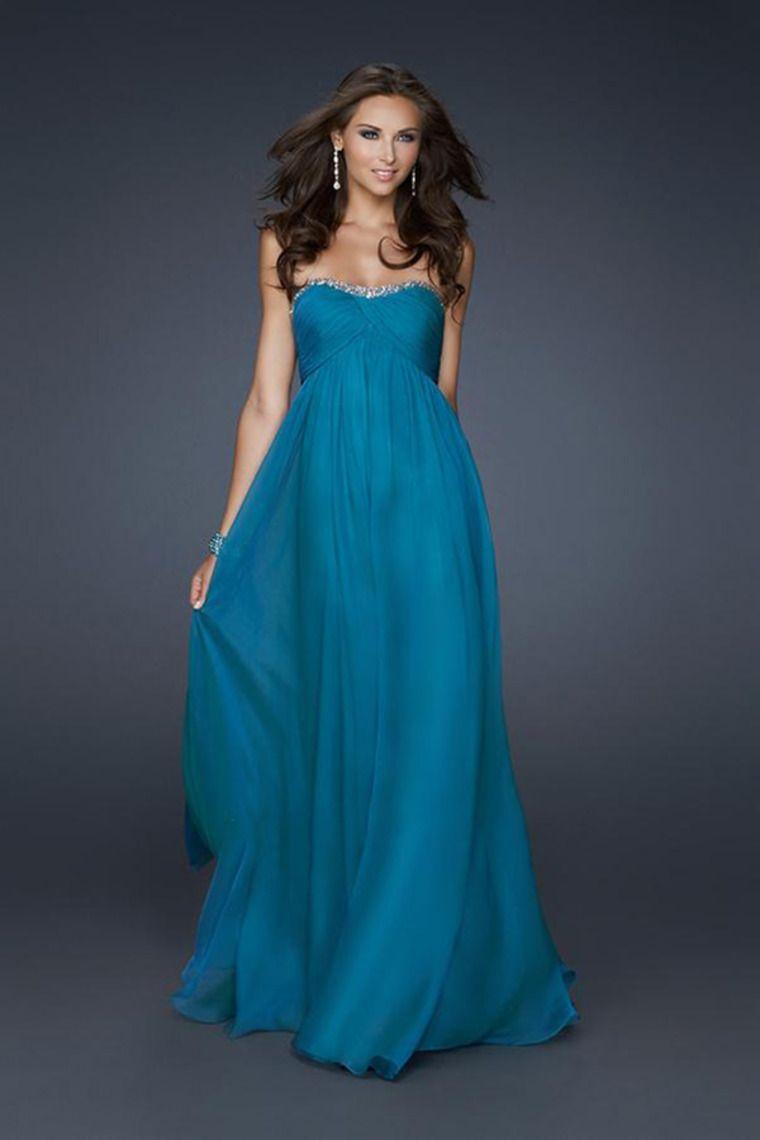 Shop 2014 Strapless Prom Dress Beaded Neckle Pleed Bodice Full ...