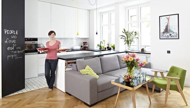 Mala Kuchnia Z Wyspa Polaczona Z Salonem Szukaj W Google Open Plan Kitchen Living Room Small Living Rooms Living Room Kitchen