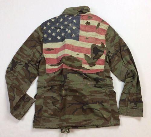 c6dd95b633d Denim-Supply-Ralph-Lauren-Men-Military-Army-Camo -Tattered-American-Flag- Jacket-S