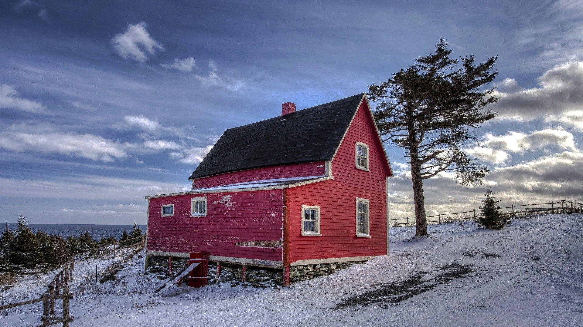 Wonderful Red Farmhouse In Winter Wallpaper Red Farmhouse Winter House Winter Wallpaper