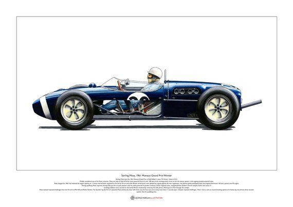 Stirling Moss 1961 Monaco Grand Prix Winner Art Poster A2 Size Monaco Grand Prix Grand Prix Monaco
