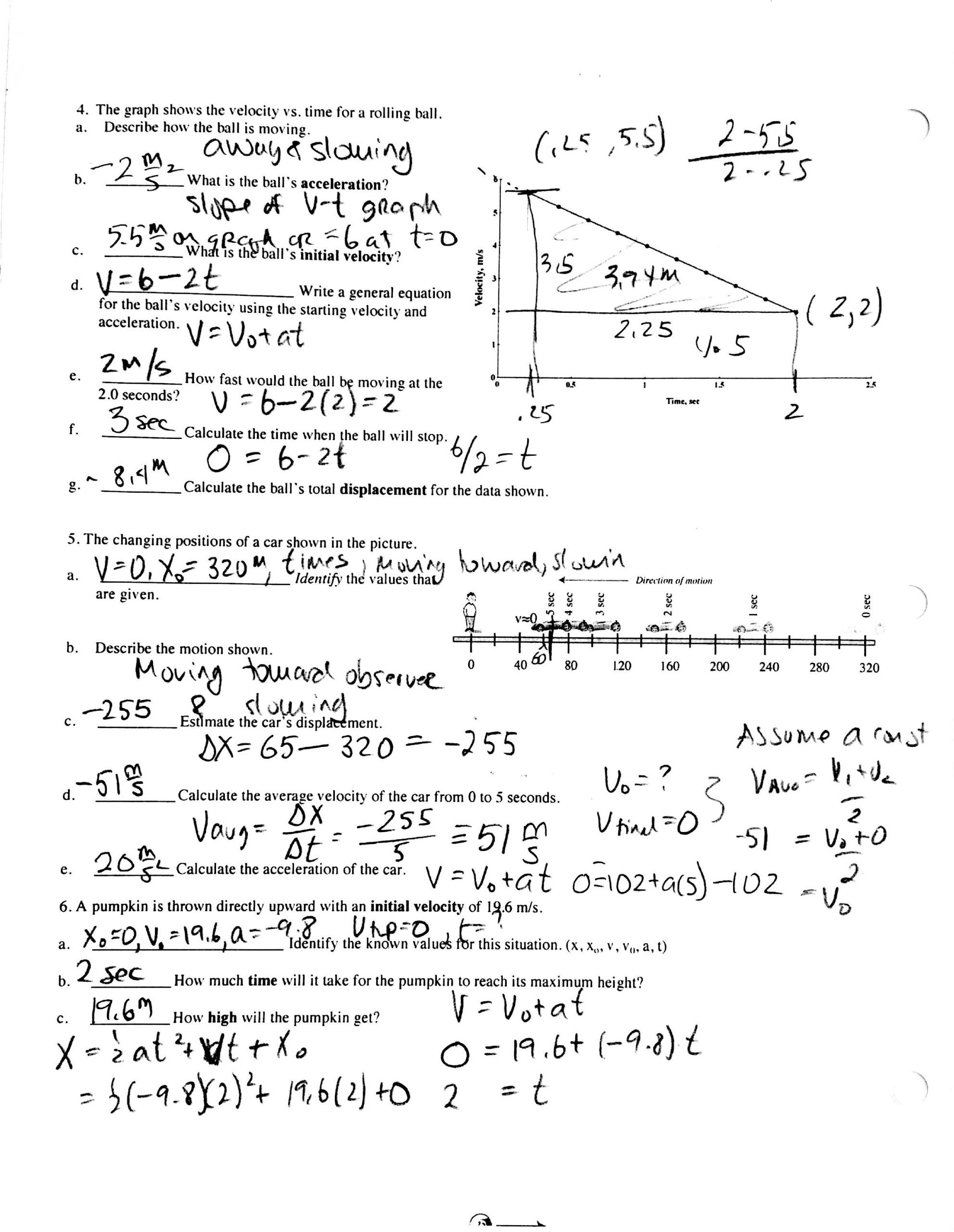Kinematics Worksheet With Answers In