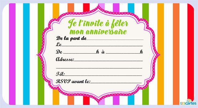 Invitation anniversaire les couleurs de l'arc-en-ciel gratuite à imprimer. Modèle d'invitation ...
