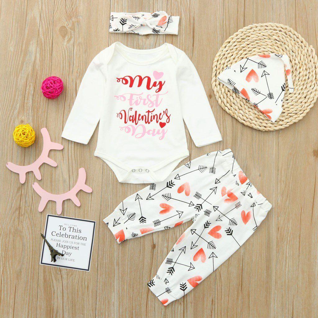dc507ad5898e Newborn Infant Baby Boy Girl Letter Romper Tops Pants Hat Set ...