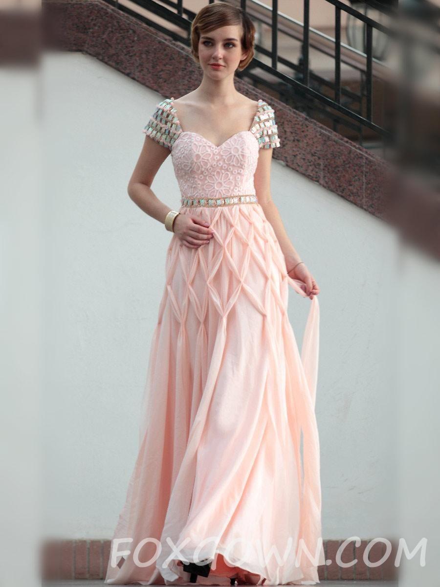 Pink capsleeve floor length aline prom dress mis