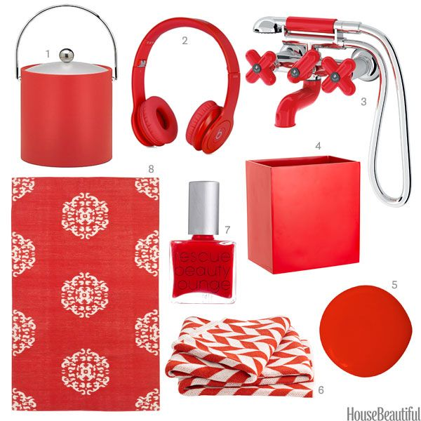 Color of the Week Candy Cane Red is part of Red Home Accessories Colour - An ice bucket, a faucet, & more