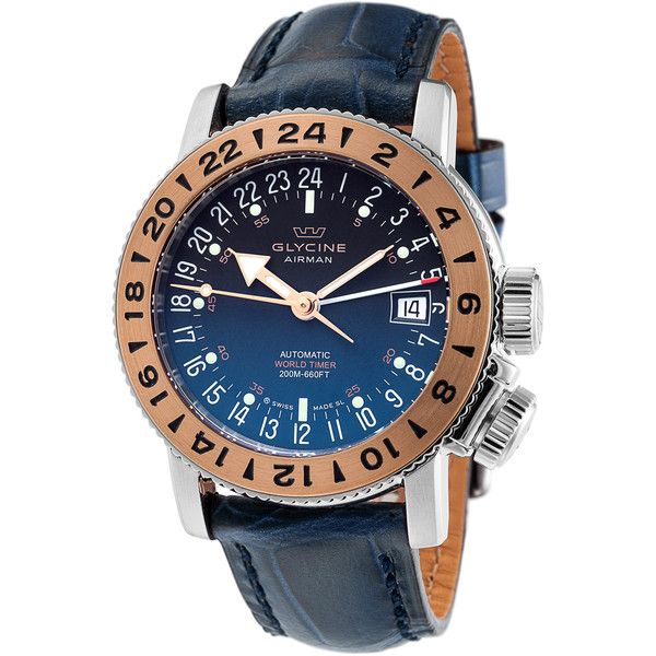 glycine menu0027s menu0027s airman 18 royal gmt automatic 18k rose gold watch
