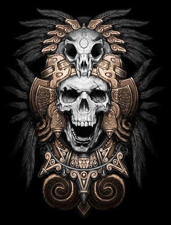 Tatuajes Aztecas Y Diseños Exclusivos Diseño 頭蓋骨 画 Y 插画