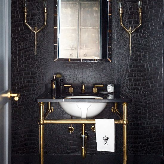 Bath Wallpaper Ideas: Black And White Bathroom Designs
