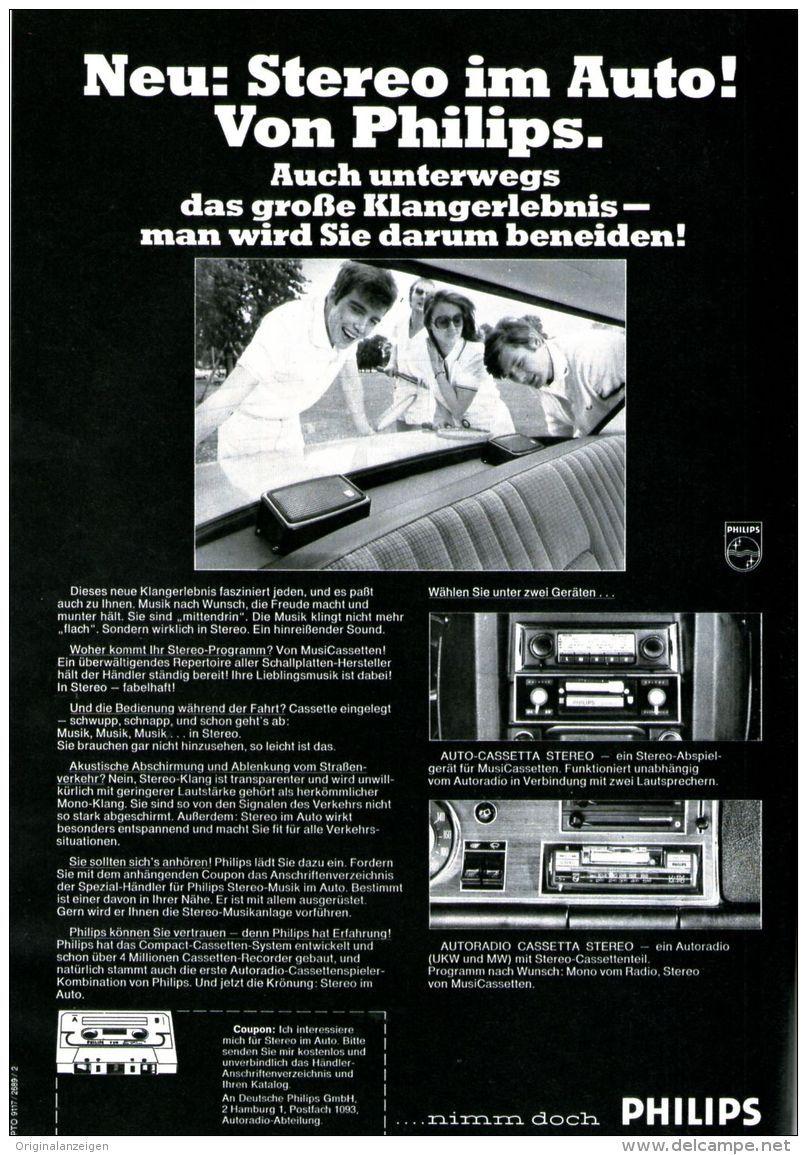 Original-Werbung/ Anzeige 1969 - PHILIPS STEREO AUTORADIO MIT CASSE ...