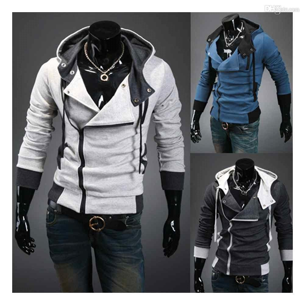 S5Q New Fashion Korean Men's Slim Hooded cardigan Coat Jacket ...
