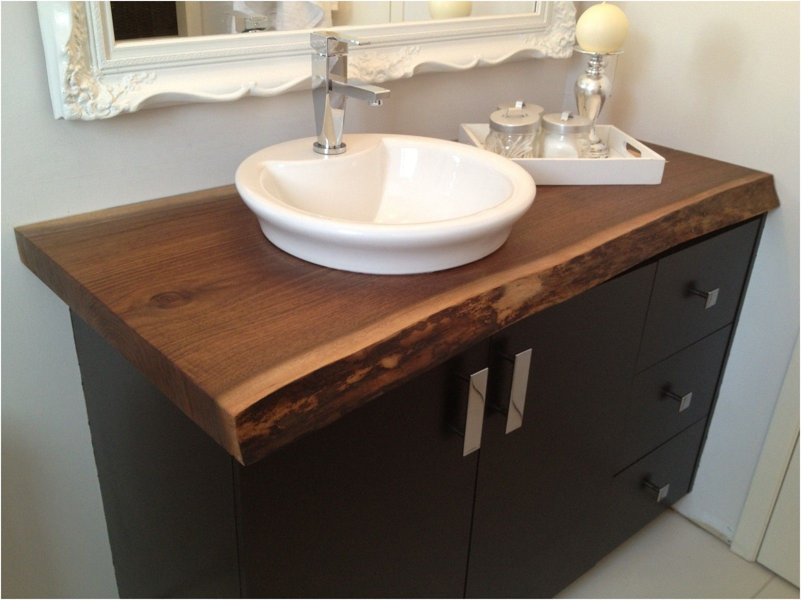 Bathroom Amazing Round White Vessel Sink With Wood Rustic Modern
