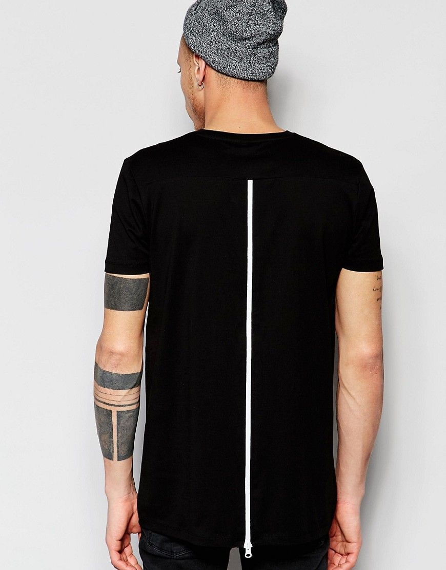 Black t shirt zips - Image 1 Of Asos Super Longline T Shirt With Zip Back And Mesh Insert