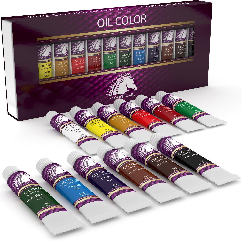Oil Paint Set 12 x 21ml Artist Quality Paints Oil