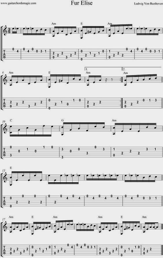 Fur Elise For Guitar - Sheet Music and Guitar Tabs. ♫ CLICK through ...