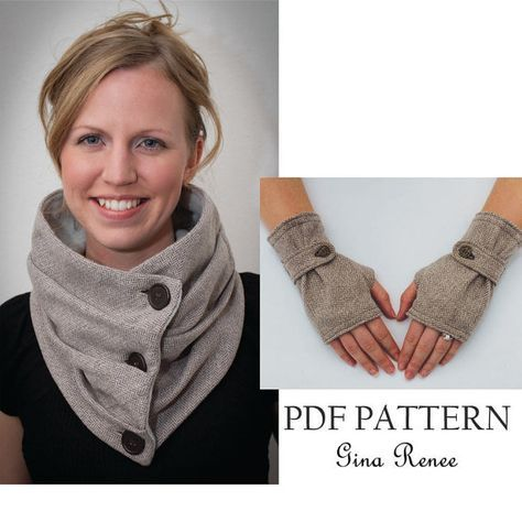 Combo Infinity Scarf and Fingerless Glove Pattern with Strap. PDF ...