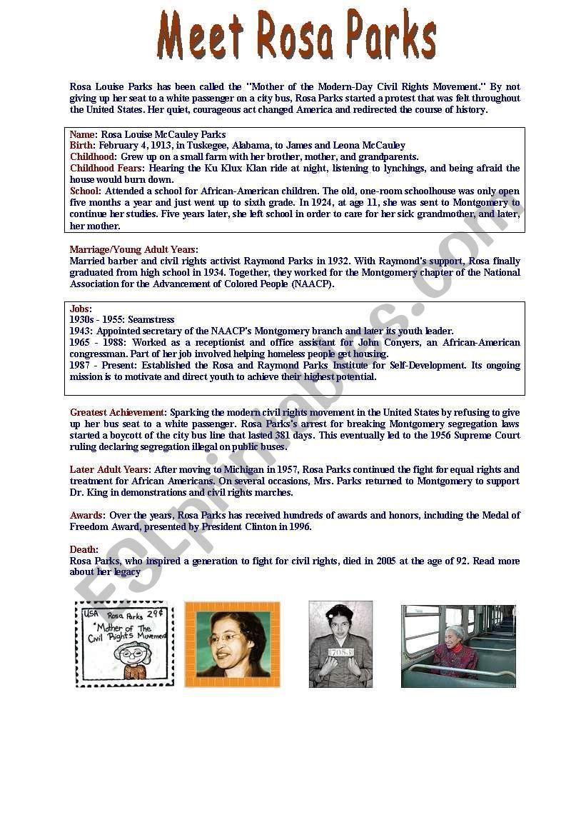 Fact File Meet Rosa Parks Level A2 B1 Esl Worksheet