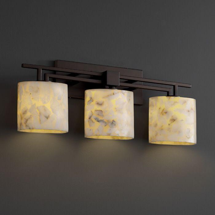 Justice design group alabaster rocks aero 3 light bath bar
