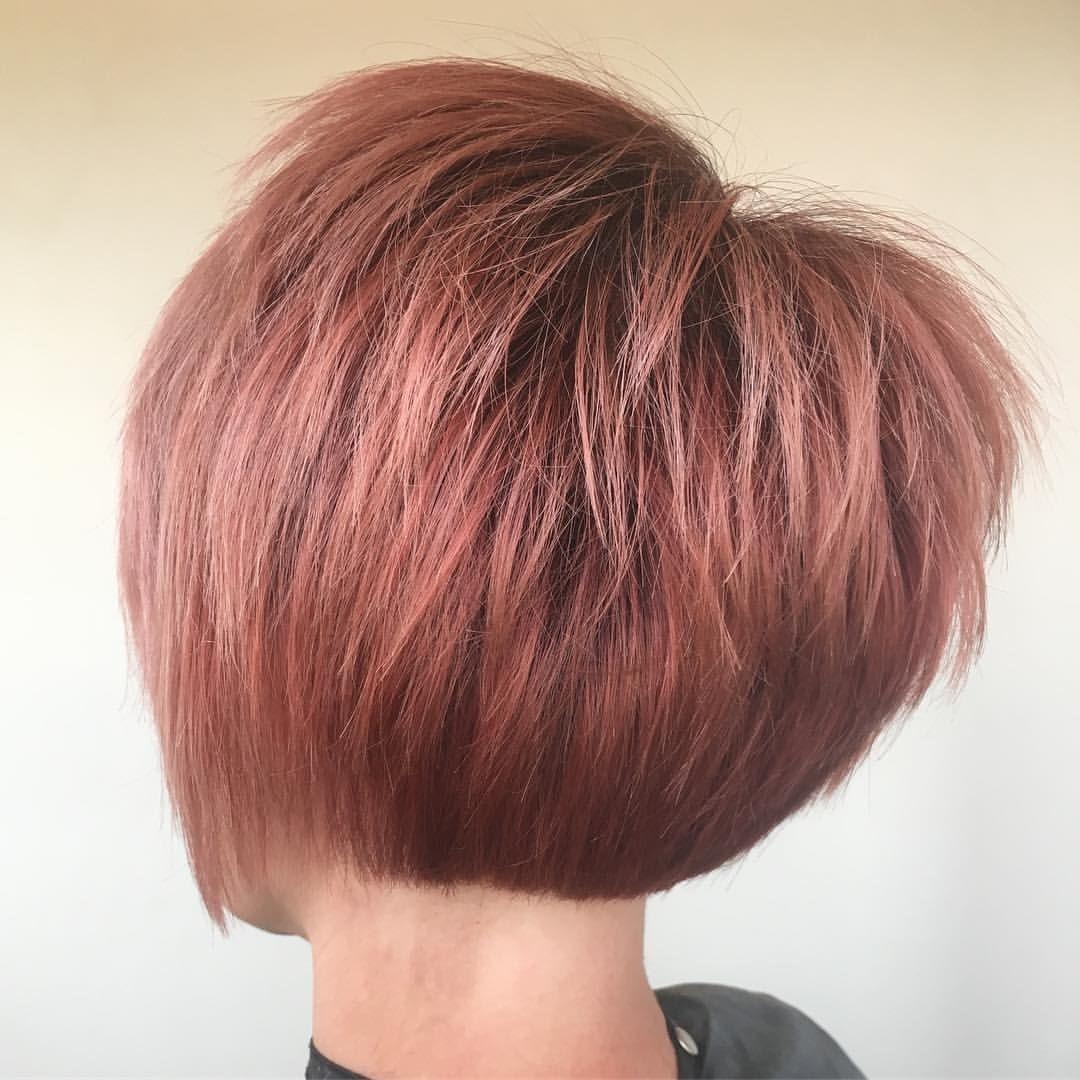 Rose Gold Or Dusty Pink Hair Bob Haircut Pixie Cut Textured Hair