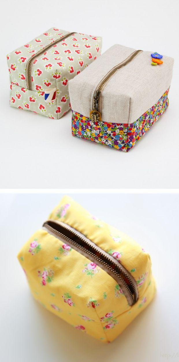 DIY cute block zipper pouch | quilting | Pinterest | Nähideen und Nähen