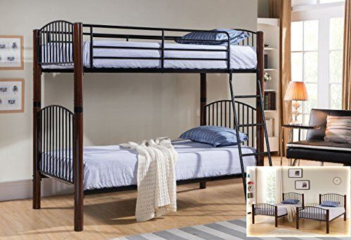 Kings Brand Black Walnut Finish Metal Twin Size Convertible Bunk Bed Bunkbed You Can Find Out More Detail Convertible Bunk Beds Twin Bunk Beds Bunk Bed Sets
