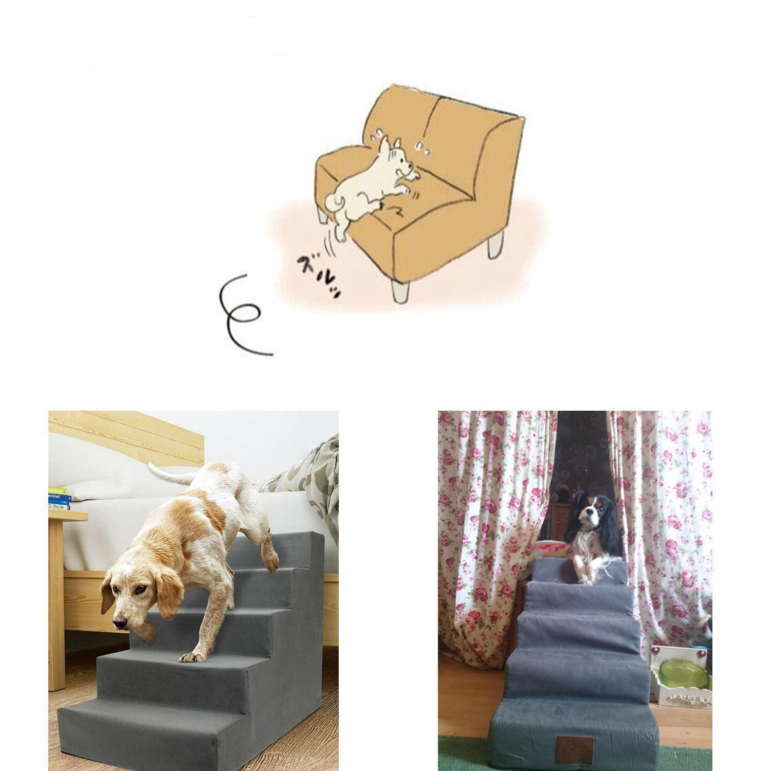 Toparchery Upgraded Easy 5 Steps Dog Stairs to get on High