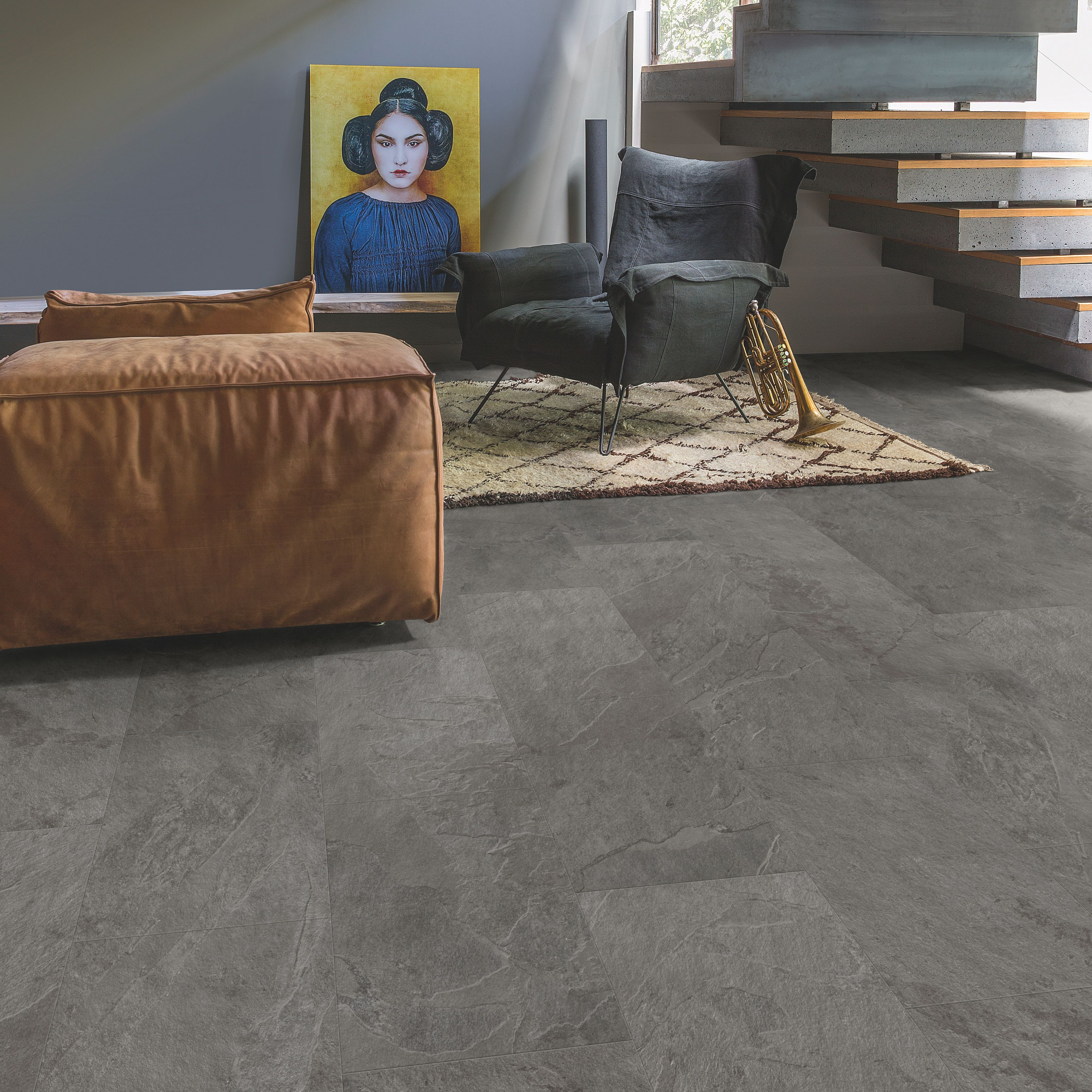 step lima grey slate effect waterproof luxury vinyl flooring tile