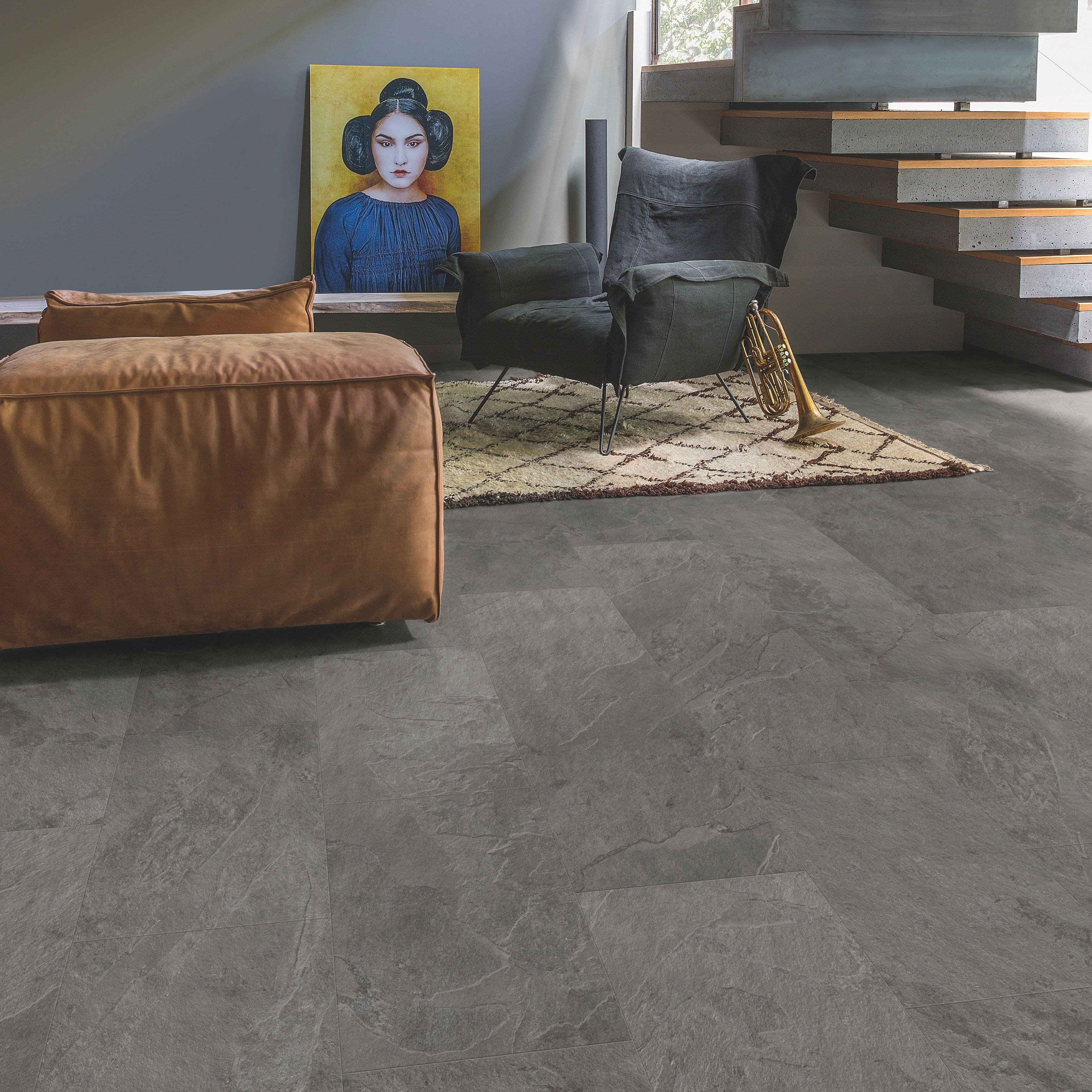 Lima Grey Slate Effect Waterproof Luxury Vinyl Flooring Tile 2 08 M Pack Departments Diy At B Q Luxury Flooring Flooring Vinyl Flooring