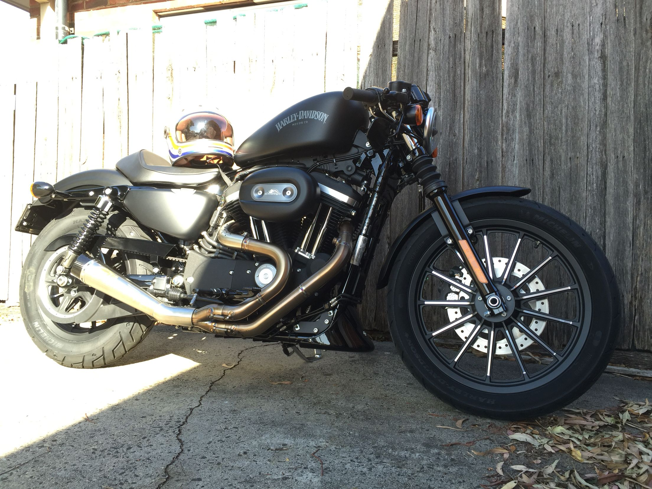 My Harley Davidson 2015 Iron 883 Sportster Cafe Racer With RSD 2 In 1 Pipes And Bell Bullit Helmet