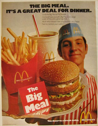 1971 Vintage McDonald's Ad ~ The Big Meal | Vintage recipes ...