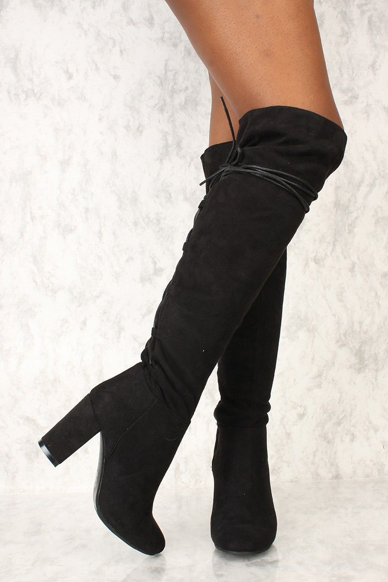 8d6b00b20c2 Sexy Black Lace Knee High Chunky High Heel Boots Faux Suede Thigh High  Boots Flat
