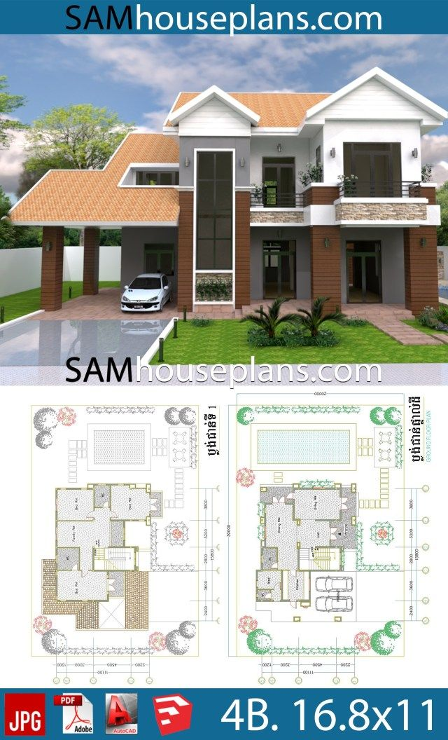 House Plans 16 8x11 With 4 Bedrooms Sam House Plans House Plans House Projects Architecture 4 Bedroom House Plans