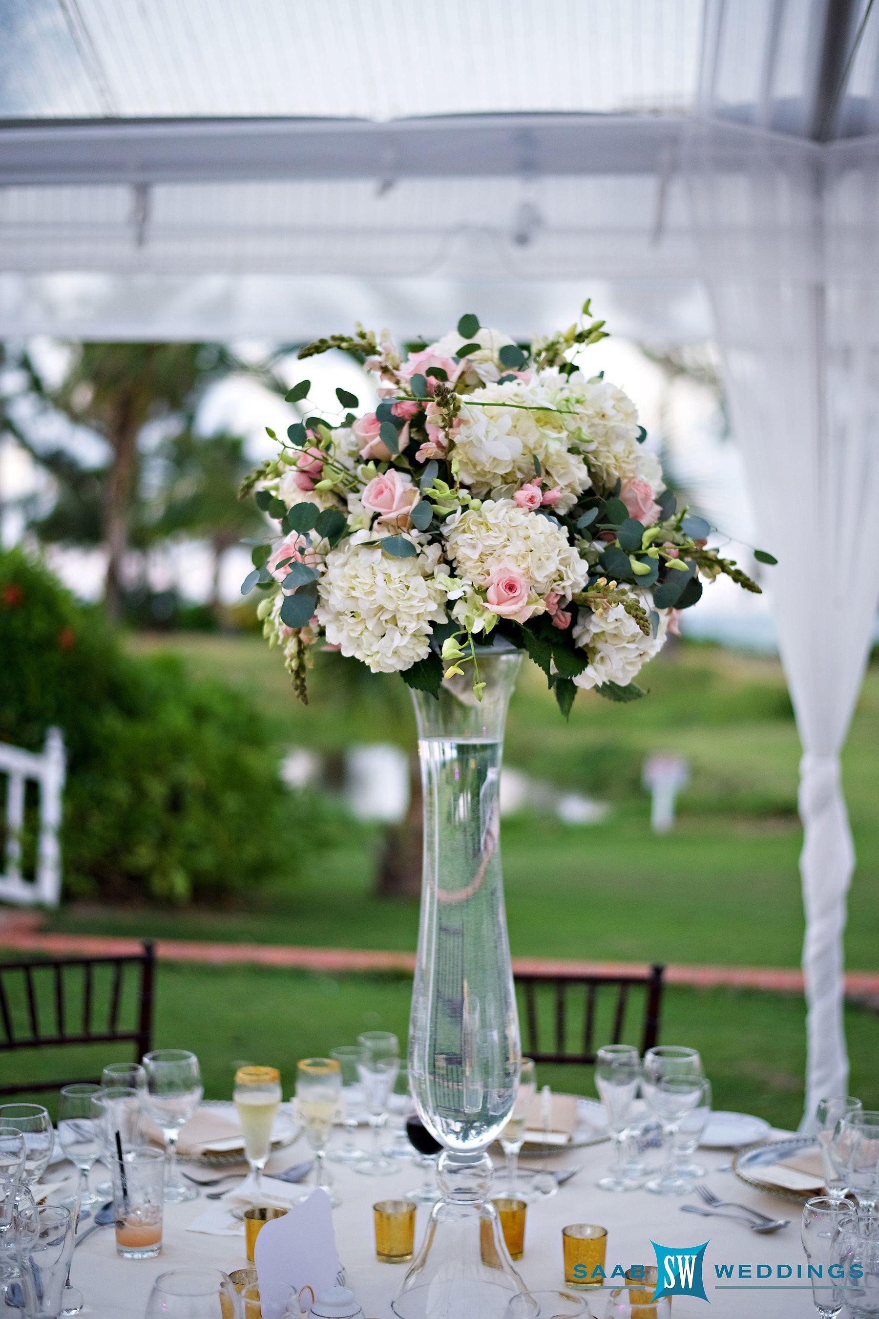 High Wedding Centerpiece With Hydrangea, Roses And Orchids #Halfmoonresort #Weddingflowers