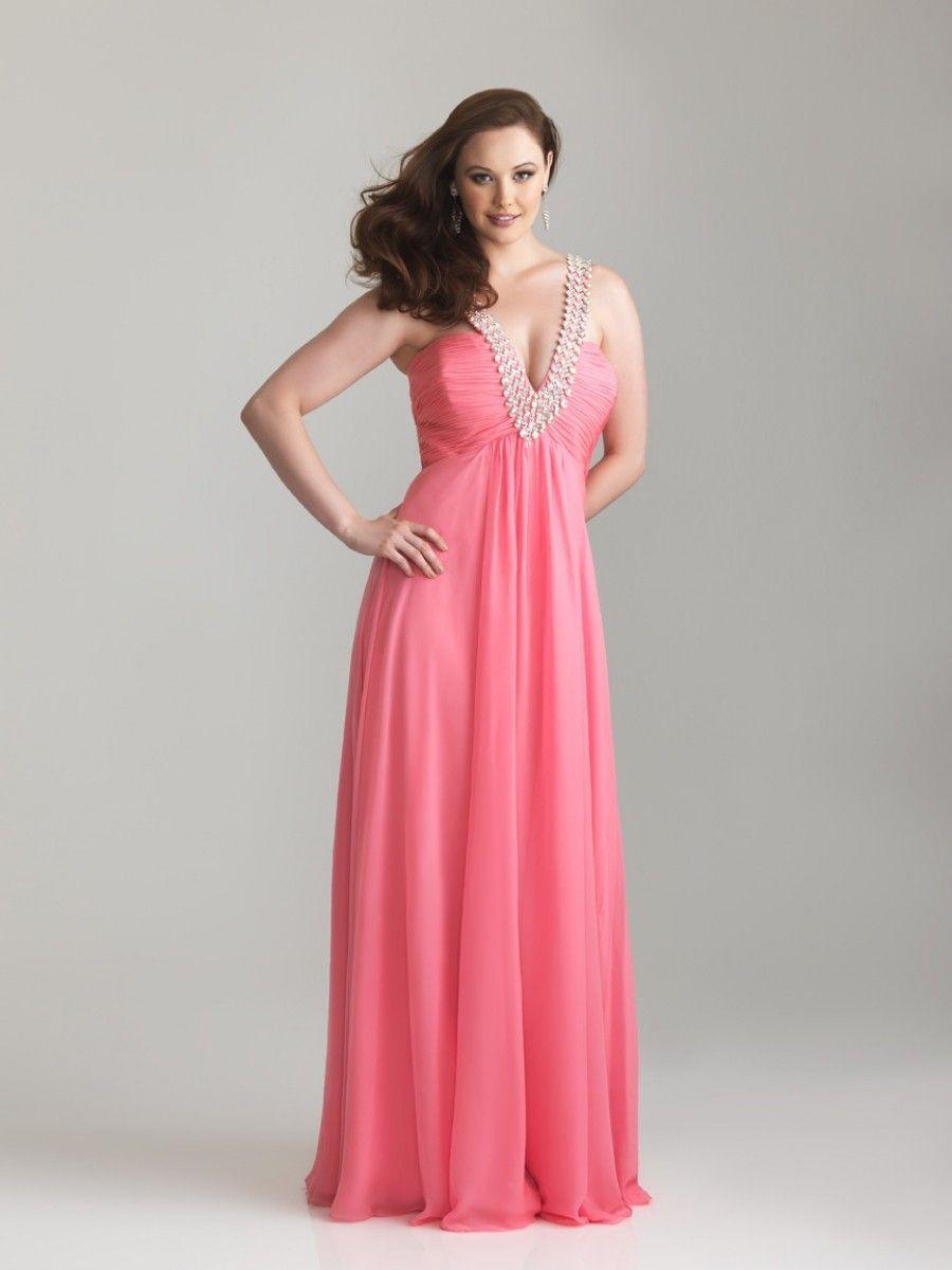 A-line V-neck Floor-length Chiffon Plus Size Prom / Evening Dresses ...