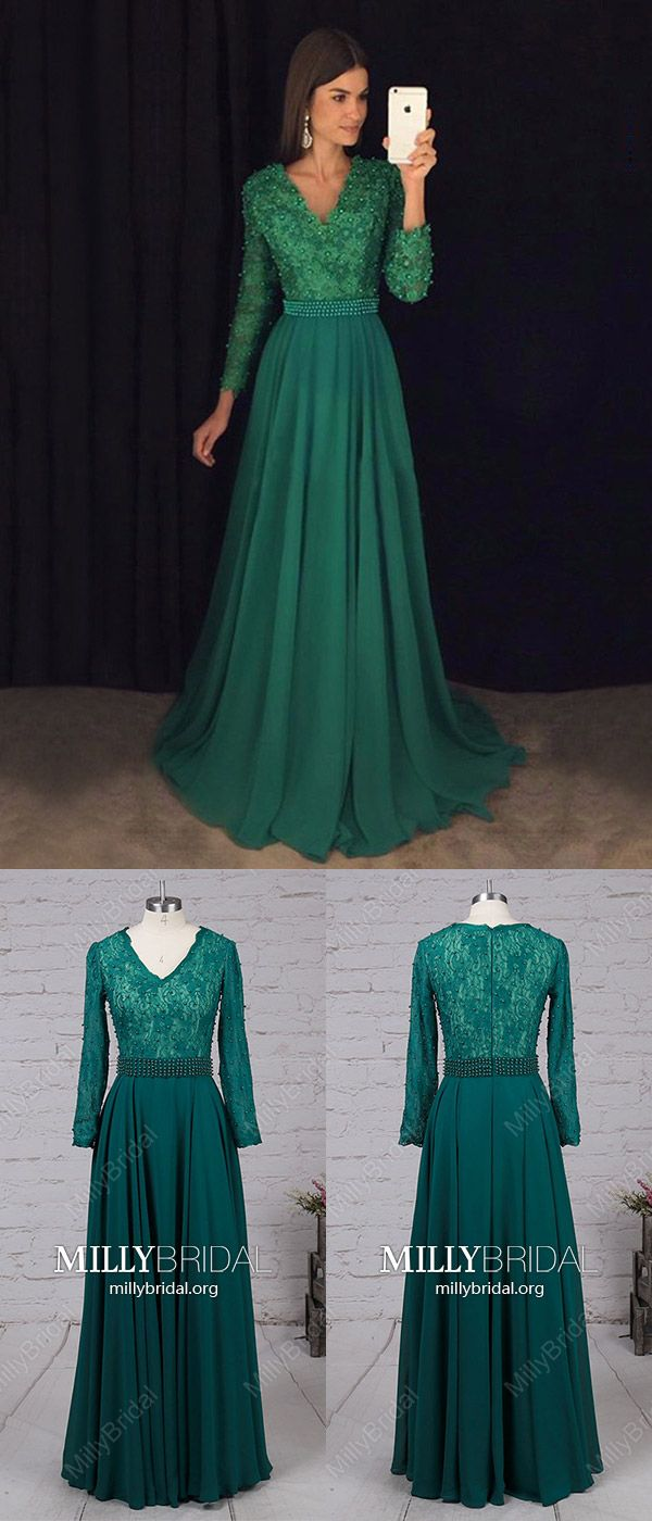 Long prom dresses with sleeveshunter green prom dresses alinev