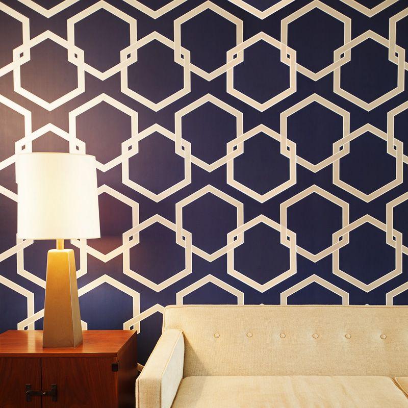 Removable Wallpaper honeycomb deep blue removable wallpaper   deep blue, honeycombs