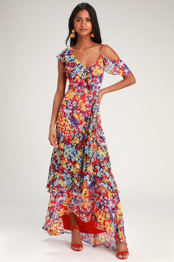6c9ae85d409 Lulus | Radiant Ruby Red Floral Print Chiffon Maxi Dress | Size ...