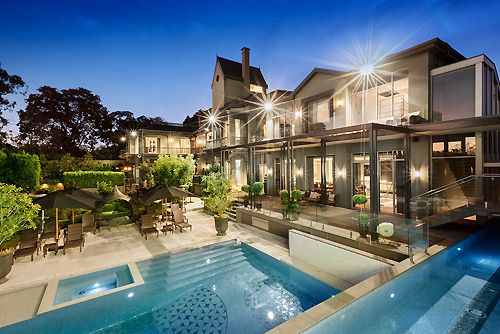 just so nice glass every where lights every where clear water in pool big as house