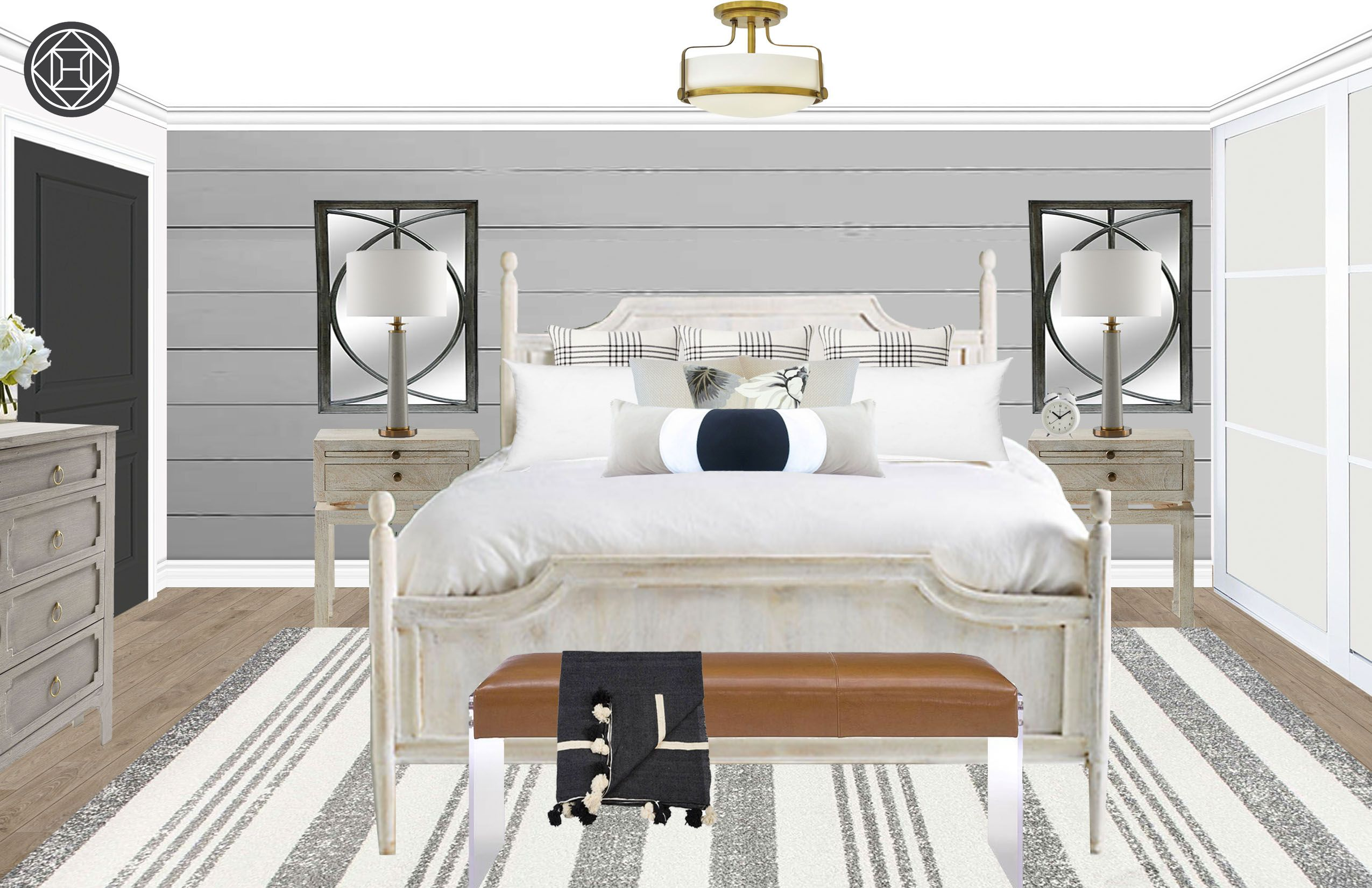 Contemporary, Glam, Farmhouse Bedroom Design by Havenly