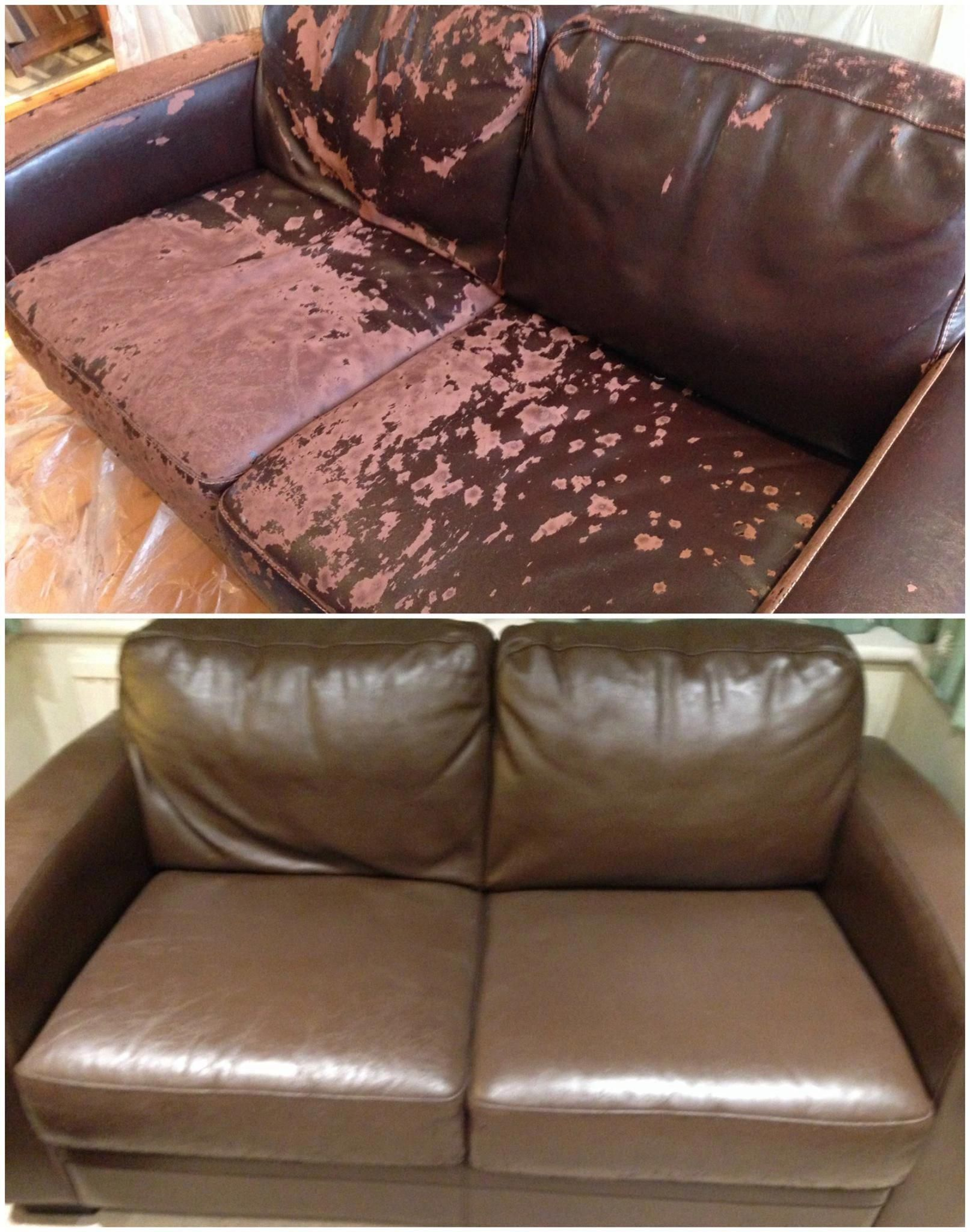 While Looking For A New Sofa Amanda Realised That Although The Leather Was Damaged The Frames And Cush Leather Couch Repair Couch Repair Paint Leather Couch