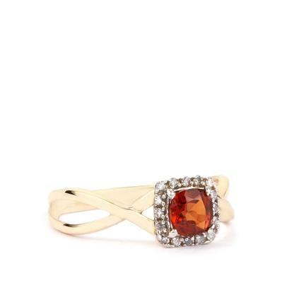 Hessonite Garnet & Diamond 9K Gold Ring ATGW 0.69cts