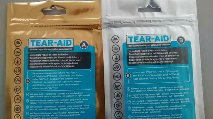 Tear Aid Een Uniek Extreem Sterk Transparant En Permanent Reparatiemiddel Voor O A Tentdoek En Rubber Bij Ons Verkrijgbaar Type A En Type B Voor Verschille