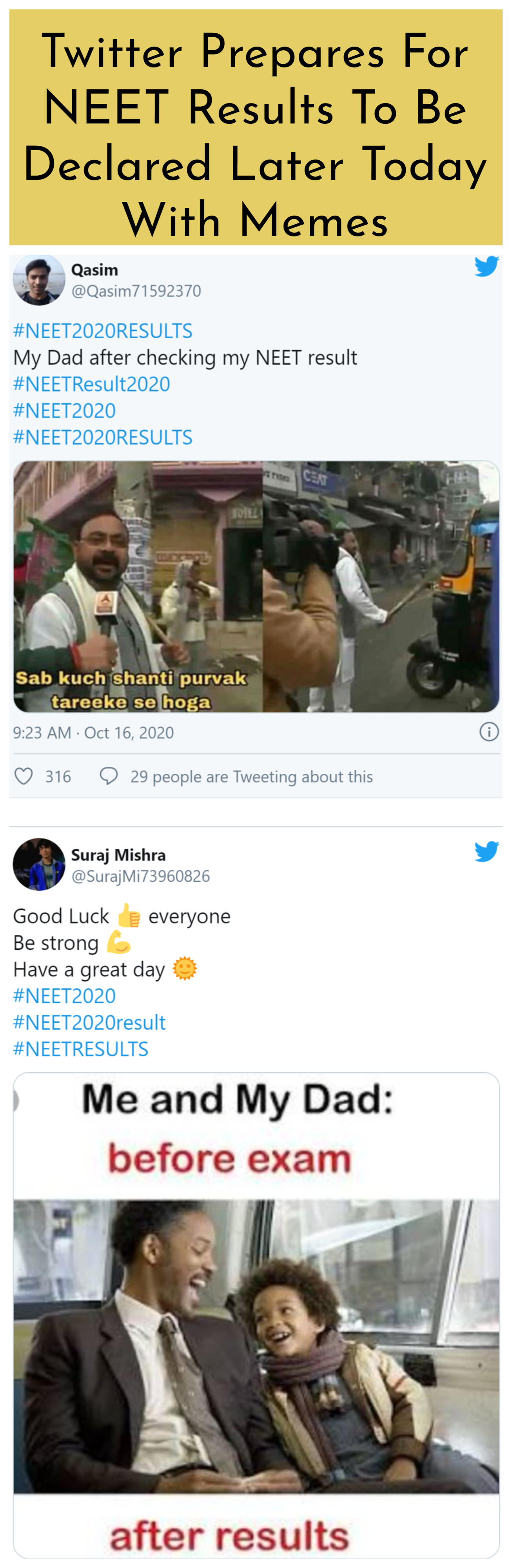 Twitter Prepares For Neet Results To Be Declared Later Today With Memes Memes Twitter Trending Funny Memes