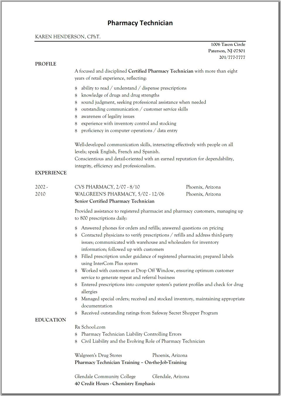 Pharmacist Resume Templates  HttpWwwResumecareerInfo