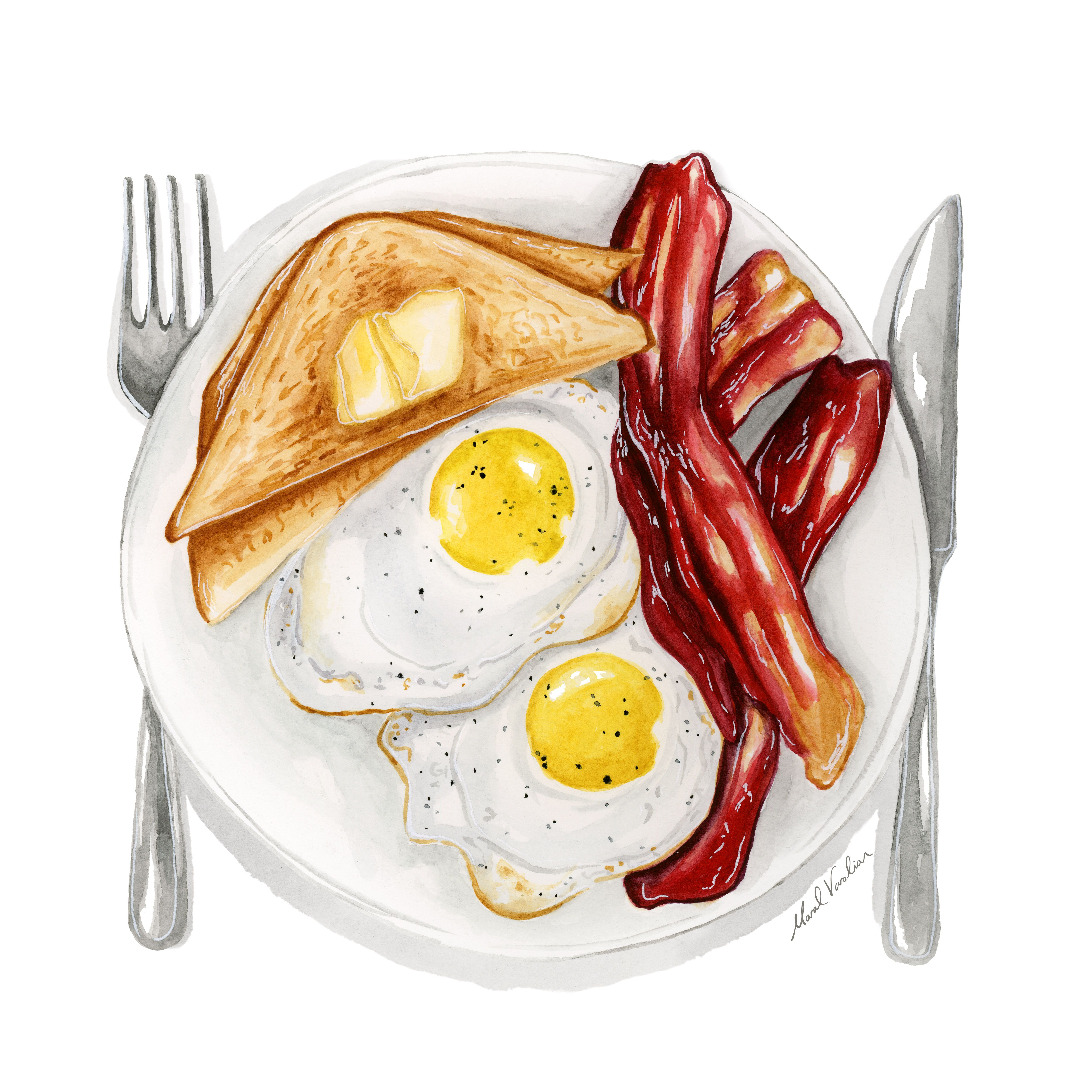 Sunny Side Up Eggs Food Illustration - Maral Varol